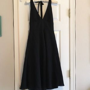 J. Crew Black Crinkle Halter Dress Size 2